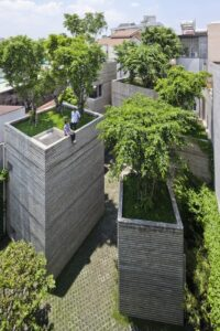 House rooftop with trees