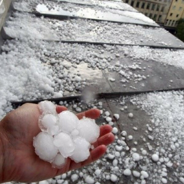 Roof full with hail